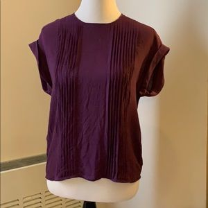 Theory Aubergine Silk Pintucked Top Size M